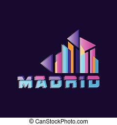 madryt, wektor, logo, projektować, z, caption., kapitał, od, spain., geometryczny, ikona, w, nachylenie, color., abstrakcyjny, sylwetka, od, miasto skyline