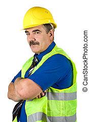 maduras, arquiteta, homem, com, chapéu duro