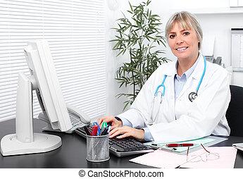 maduras, doutor médico, woman.