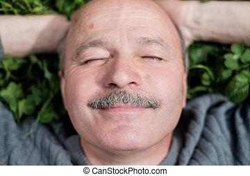 maduras, feliz, homem, mentindo, ligado, verde, grass., ele, sorrisos, e, fecha, eyes.