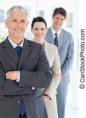 maduras, ficar, vertical, equipe, seu, gerente, negócio, ...