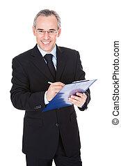 maduras, homem negócios, com, área de transferência