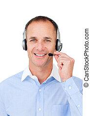 maduras, homem negócios, headset, usando, self-assured
