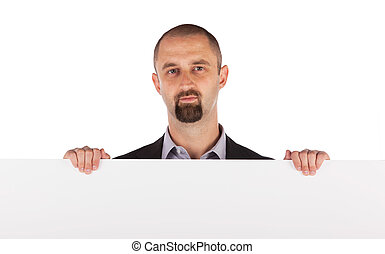 maduras, homem negócios, segurando, billboard