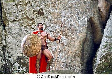maduras, spartan, guerreira, em, a, madeiras