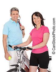 maduro, activo, pareja, hacer, deportes
