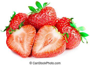 maduro, aislado, fresas, plano de fondo, rojo blanco