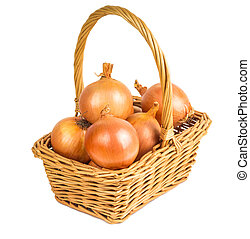 maduro, cebolas, em, a, cesta