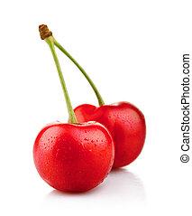 maduro, cereja vermelha, bagas, isolado, branco