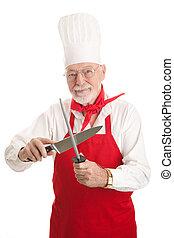 maduro, chef, sharpens, cuchillo