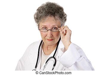 maduro, doctora, serio