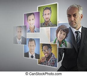 maduro, el seleccionar, empleados, director, futuro,...