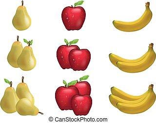 maduro, fruta, dividido, ilustração, pêra, grupos, banana, 3d
