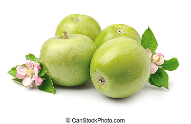 maduro, fruta, maçãs verdes