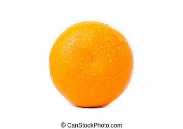 maduro, gota, aislado, agua, plano de fondo, naranja, blanco