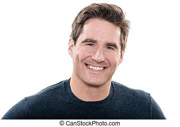 maduro, guapo, hombre, ojos azules, sonriente, retrato