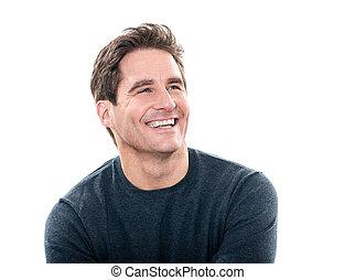 maduro, guapo, hombre, reír, retrato