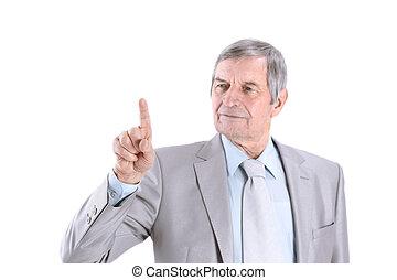 maduro, hombre de negocios, señalar el dedo, a, virtual, punto