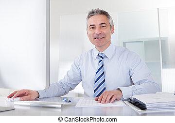 maduro, hombre de negocios, trabajo en el escritorio