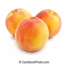 maduro, isolado, pêssego, frutas