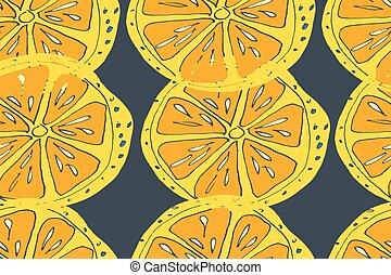 maduro, jugo, pattern., seamless, mano, tropical, fondo., vector, dibujado, fruits.