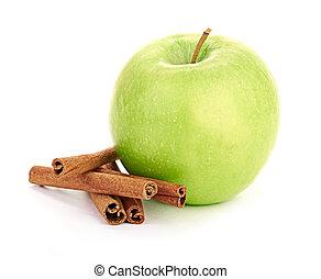 maduro, maçã verde, com, varas canela