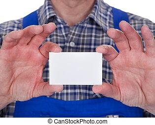 maduro, macho, técnico, tenencia, tarjeta visitante