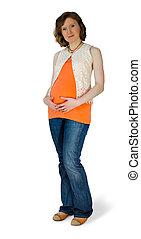 maduro, mujer embarazada, en, el, estudio