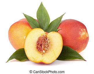 maduro, pêssego, frutas