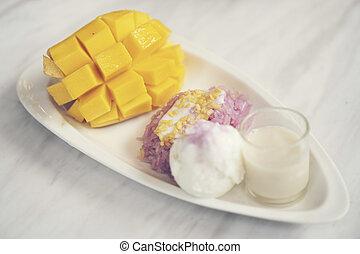 maduro, pegajoso, sobremesas, manga, arroz, tailandês