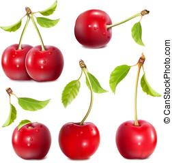 maduro, rojo, cherries.