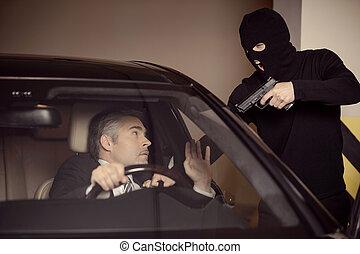 maduro, sentado, coche, hombres, arma de fuego, sorprendido,...