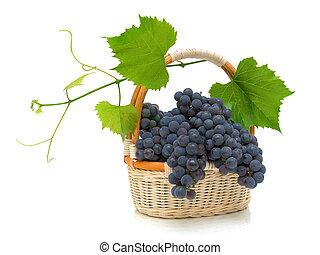 maduro, uvas, con, hojas, en, un, cesta, en, un, fondo blanco