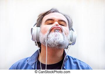 maduro, y, hombre barbudo, goza, y, juegos, con, el suyo,...