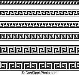 maeander - illustration of different greek ornament patterns