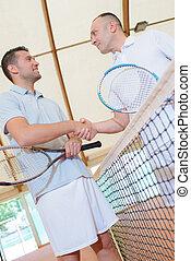 maenner, auf, der, tennisplatz