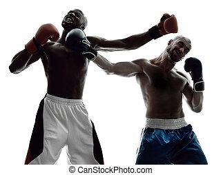 maenner, boxer, boxen, freigestellt, silhouette