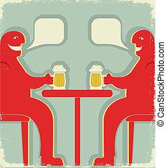 maenner, brille, toast., zwei, bier, plakat, weinlese