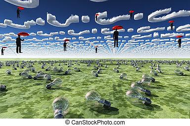 maenner, hängen, in, himmelsgewölbe, aus, glühlampe, gefüllt, feld, unter, frage, wolkenhimmel