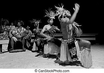 maenner, insel, tänzer, junger, pazifik, tahitian, polynesian