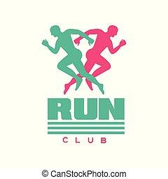 maenner, laufen, klub, lebensstil, abstrakt, silhouetten, klub, abbildung, etikett, sport, rennender , vektor, logo, turnier, sport, abzeichen, gesunde, marathon, konkurrenz