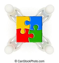 maenner, puzzel, puzzlespielstücke, besitz, montiert, 3d