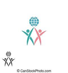 maenner, silhouette, erfolg, erdball, partnerschaft, zwei, zusammen, emblem, global, gemeinschaftsarbeit, gemeinschaft, sozial, atlas, halten, logo, ikone