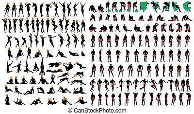 maenner, silhouette, textilfreie , mädels, satz