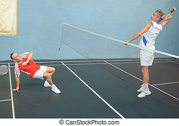 maenner, spielenden badminton, eins, auf, boden