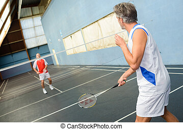 maenner, spielenden badminton