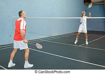 maenner, spielenden spiel, von, badminton, auf, a, gericht