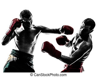 maenner, trainieren, boxen, silhouette, thailändisch, zwei