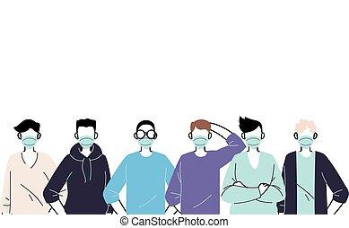 maenner, verhindern, tragen, junger, maske, virus, gesicht