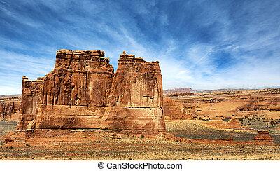 maestoso, roccia rossa, formazione, in, fornisce arcata parco nazionale